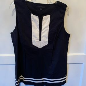Tommy Hilfiger Navy Blue and White Cotton Blouse